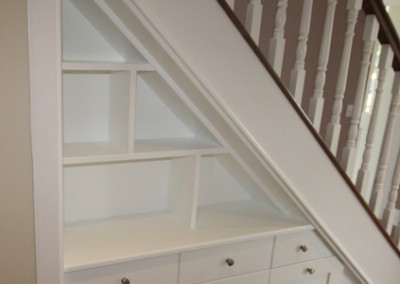 Open Shelved Understairs Storage With Drawers Underneath